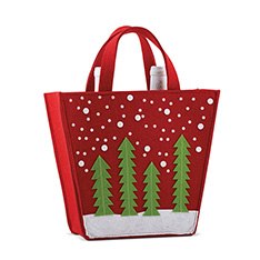 DOUBLE BOTTLE FELT BAG - GREEN TREES
